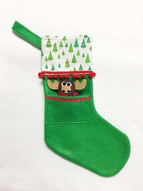 Felt Stocking. Christmas Stocking, Pocket Stocking, Moose - Dainty Trees, Apple Green
