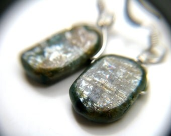 Blue Kyanite Earrings . Raw Kyanite Jewelry . Natural Gemstone Drop Earrings . Silver Wire Wrapped Earrings - Cirrus Collection