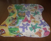 Baby Burp Cloth Set of Three with Terrycloth Back Curved to Fit Your Neck and Shoulder