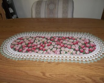 Crochet Table Runner, Tulips, Fabric Table Runner, Centerpiece, Home Decor, Table Topper, Handmade, Table Cloth, Dress Scarf, Best Doilies