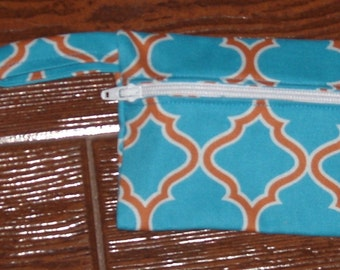 Turquoise and orange lattice coin purse with swivel hook