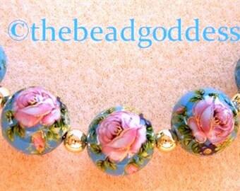 New 5 Beautiful Japanese Tensha Beads Pink Rose Aqua 12mm
