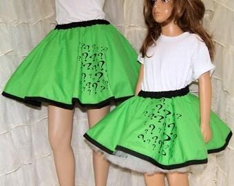 Riddler Green Question Mark Long Circle Skirt Adult Medium- MTCoffinz - Ready to Ship