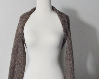 Women's Sweaters - Big Cozy Sweaterknit Shrug Hand Knit in 100% Wool - Bark Brown/Taupe, Boho, Fall Fashion, Layering