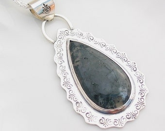 Moss Agate Pendant, Agate Pendant, Green Agate, Moss Agate Necklace, Moss Agate Jewelry, Sterling Silver, Stamped, Natural Stone Jewelry