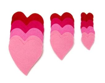 Diecut 24 MINI HEARTS,  DIY, Wool blend felt appliques,  precision die cut, Valentine's Day