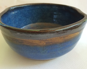 blue bowl - ceramic bowl-pottery serving bowl- handmade-  bowl- B98