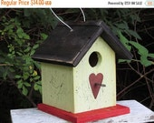 SUMMER SALE Chickadee Birdhouse Citrus Yellow Rusty Heart