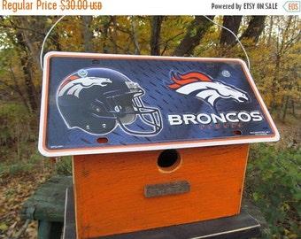SUMMER SALE Denver Broncos Football License Plate Birdhouse Fully Functional NFL