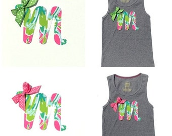 NEW!!! Lilly Pulitzer... Cursive Letter...Fabric Iron On Applique...Ribbon Included...You Choose Your Own Letter