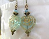 Heart earrings Aqua dangle earrings Spring jewelry