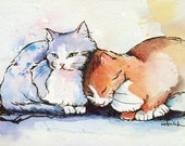 Sweethearts - two affectionate cats cuddling ORIGINAL painting