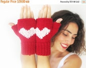CLEARANCE 50% SALE Fingerless Gloves with Heart -  Mittens - Valentines Day by Afra