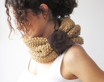 CLEARANCE 50% SALE Camel Cowl Scarf with Brown Roses by Afra