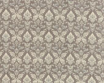 Black Tie Affair - Moda Fabric - Half Yard - Fleur De Lis Cream on Taupe Floral Cotton Fabric Basicgrey Basic Grey Gray 30421 14