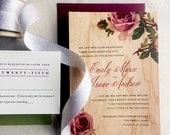 Wood Wedding Invitation, Vintage Rose REAL WOOD