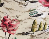 RESERVED Barkcloth Panel Pink and Metallic Cubist Modernist Landscape Central Park 76 X 45 Inches