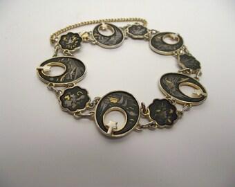 Damascene Link Bracelet Vintage Art Deco Revival Japanese 24 K Gold and Silver Inlay
