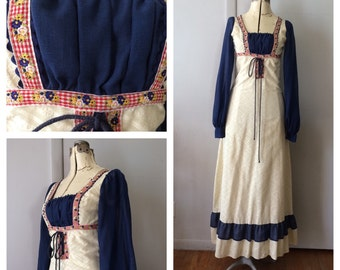 Gunne Sax by Jessica Maxi 1970's Peasant Dress Cream and Blue Hippie Festival Juniors Extra Small