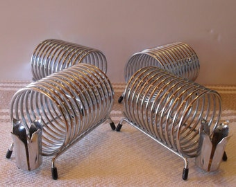Set Of 4 Mid Century Vintage Chrome Coil Holders