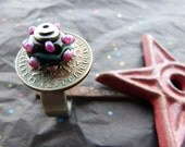 Lampwork Glass, Coin, Rivet and Stainless Steel Ring