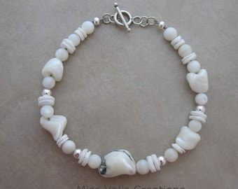 white shell mother of pearl sterling silver bracelet