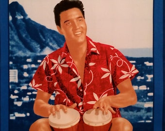 Elvis Presley Blue Hawaii Cotton Fabric Panel