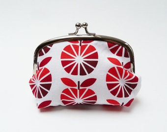 Coin purse, red and white geometric apple fabric, cotton pouch