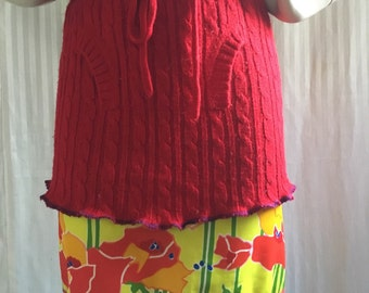 Upcycled Red Sweater Skirt