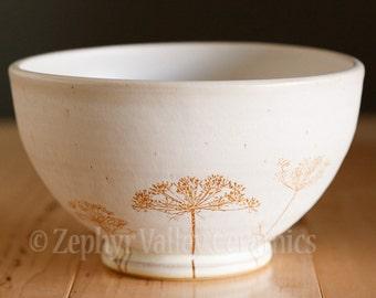 Stoneware Bowl - Salad Bowl - Pasta Bowl - Pottery Bowl - Cereal Bowl - Soup Bowl - Botanical Bowl - Dill