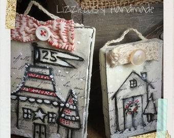 Christmas ornaments on small canvas set of two
