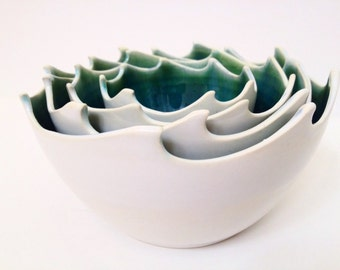 Wheel Thrown Stoneware Nested Bowls Set - Wave Design - Made To Order
