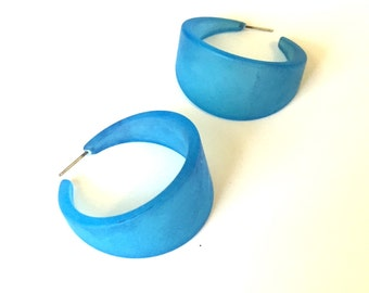 Turquoise Hoop Earrings | Frosted Aqua Blue Bettie Hoops | vintage lucite hoop earrings
