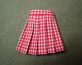 Red and White Checked Pleated Wrap Skirt for Blythe, Pullip and Vintage Skipper