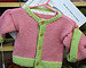 Adorable Baby SET of Easy Cardigan and Matching Cap - Knitting Pattern PDF