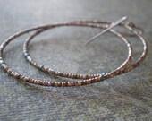 Metal Bead Large Hoop Earrings | Antique French Steel Cut Beads | Pastel Color | France  1800s - 1910 | Everyday Earrings | Delicate Hoops