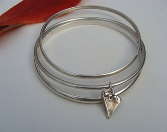 Three Silver Handcrafted Bangles