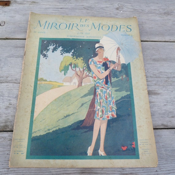 Vintage june 1927 french issue magazine miroir des modes for Miroir des modes value