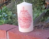 Christmas Words Ornament 3x6 pillar candle