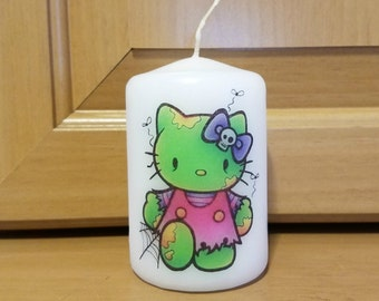 Zombie Kitty Halloween 2x3 Pillar Candle