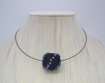 Knitted Bead and Crystal Necklace