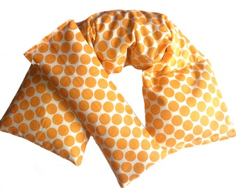 Hot Cold Therapy Wrap and Eye Pillow Heating Pad, Amy Butler Tangerine Orange Polka Dot - Flaxseed Rice Mix - UNSCENTED OR SCENT