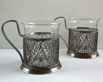 2 Russian Filigree Silver Plate Cups w/Glass Hommet Coffee Tea Cupholders