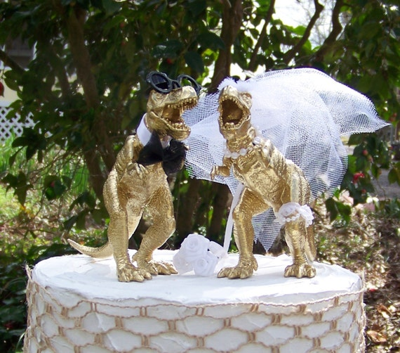 gold dinosaur wedding cake topper dinosaur wedding cake topper t rex cake topper by 14751