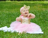 Pink and Gold First Birthday Dress, First Birthday Outfit, Pink and Gold Flower Girl, Gold Sequin, One year old, Half Birthday, 6 month, 12