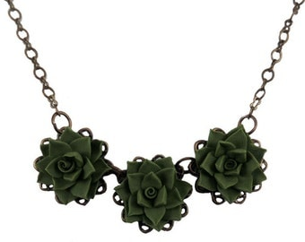 Three Succulent Necklace - Trio Succulent Jewelry Collection
