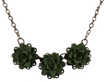 Three Succulent Necklace - Trio Succulent Jewelry, Succulent Filigree Necklace
