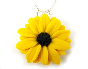 Black Eyed Susan Necklace - Black Eyed Susan Jewelry , Yellow Coneflower