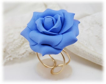 Large Blue Rose Ring - Blue Rose Jewelry Collection, Blue Flower Ring