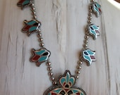 On HOLD for MMM Vintage Southwestern Style Squash Blossom Necklace Silver Celluloid Great Colors!